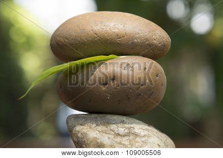Zen Rock Tri Spiritual Stack Wood Floor Stone Concept