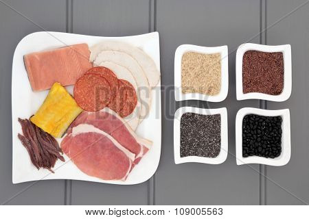 High protein health food diet of meat, fish, pulses, grains and seeds. Also eaten by body builders.