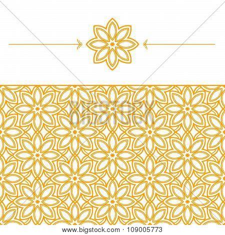 Seamless wallpaper with geometric, linear pattern in eastern style. Geometric linear element of a fl