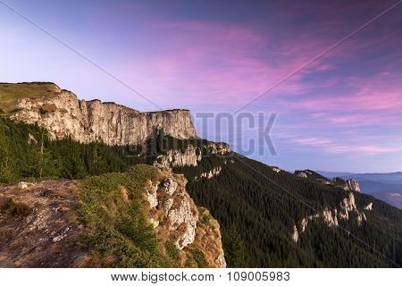 Mountains Landscape With Vibrant Colorful Sky