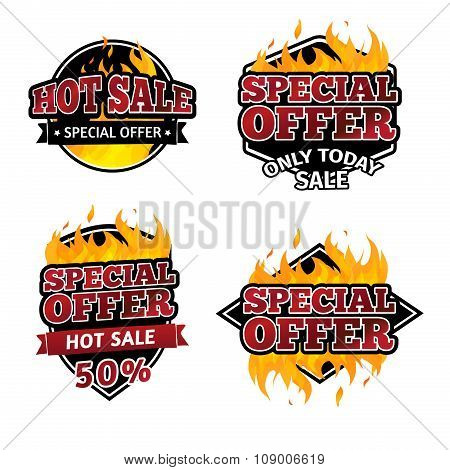 Set of retro logos, badges, buttons, icons, price tags for discounts, special offers, hot sale. The