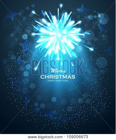 Blue glittering bokeh stars dust. Christmas background with blue magic star. Blurred Christmas Lights for Xmas Holiday Design. Elegant Christmas background. Festive fireworks