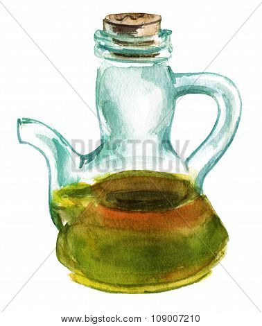 A watercolour drawing of a bottle of extra virgin olive oil on white background