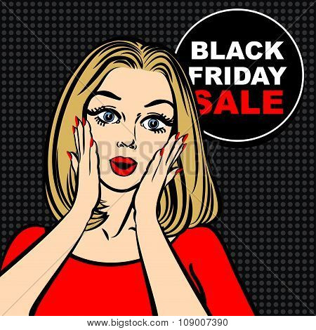 Black Friday Sale Bubble And Pop Art Astonished Cute Girl Opening Mouth.