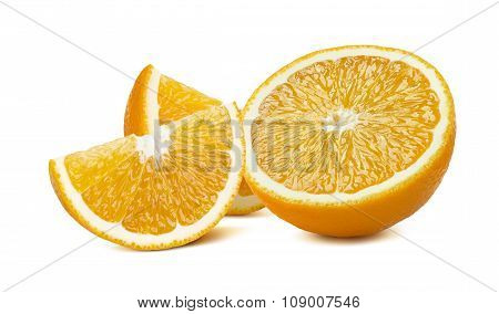 Orange 2 Quarter Pieces Isolated On White Background