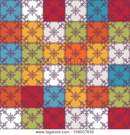 Seamless ornamental patterns in the eastern, vintage, geometric style. Abstract vector background.