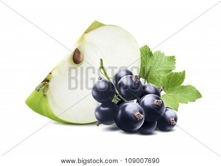 Green Apple Piece Blackcurrant Isolated On White Background
