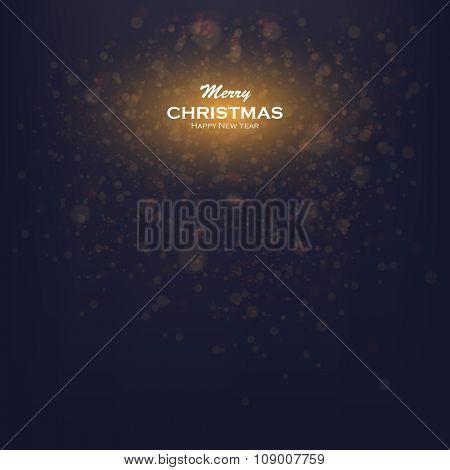 vector glittering stars on bokeh background. Christmas Card Invitation with bokeh