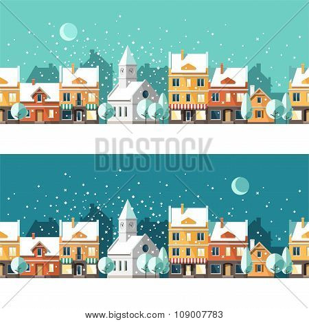 Winter Town Urban Winter Landscape Cityscape