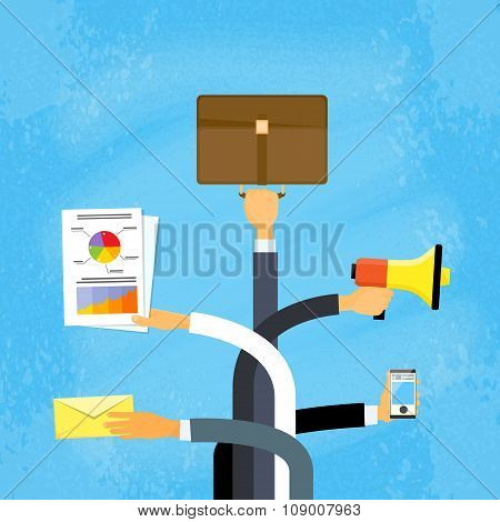Business People Hands Hold Documents Briefcase Megaphone