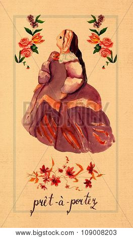 A retro style label with a lady in a historical Spanish costume, words 'pret-a-porter' and flowers