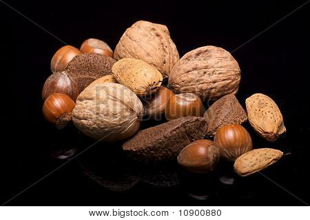 Selection Of Nuts In Shells On A Black Background