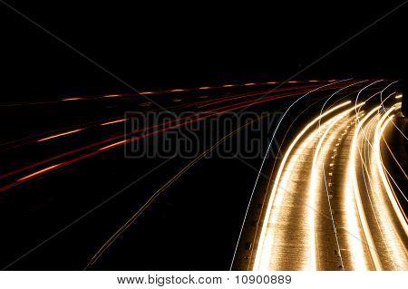 Headlight Streaks On Motorway