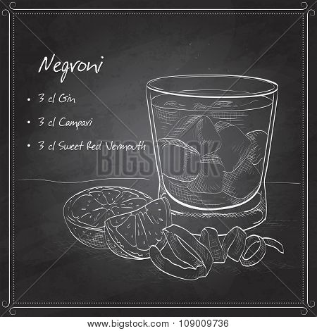 Negroni alcoholic cocktail on black board
