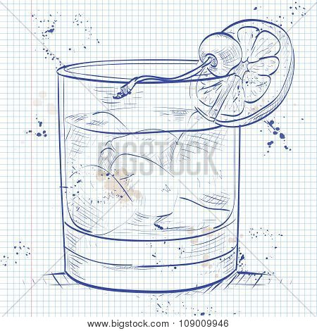 Old fashioned cocktail on a notebook page