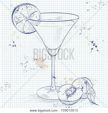 Paradise alcoholic cocktail on a notebook page