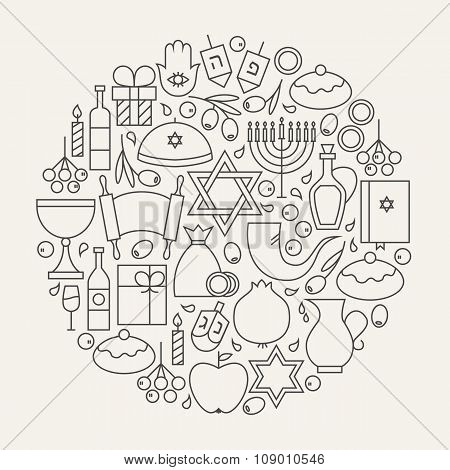 Happy Hanukkah Holiday Line Icons Set Circular Shaped