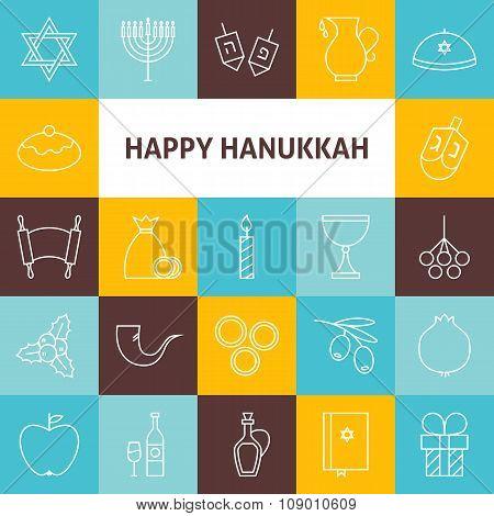 Thin Line Art Happy Hanukkah Jewish Holiday Icons Set