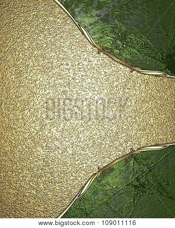 Gold Texture With Green Edges. Element For Design. Template For Design. Copy Space For Ad Brochure O