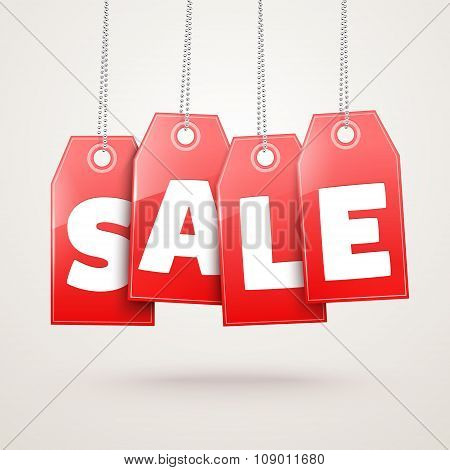 Hanging Price Tags. Vector Sale labels