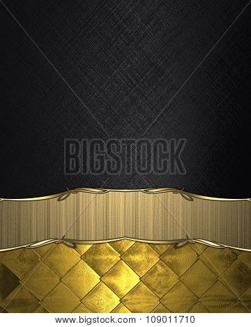 Black Background With Gold Ribbon. Element For Design. Template For Design. Copy Space For Ad Brochu