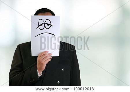 Businessman Wearing Sad Face Mask