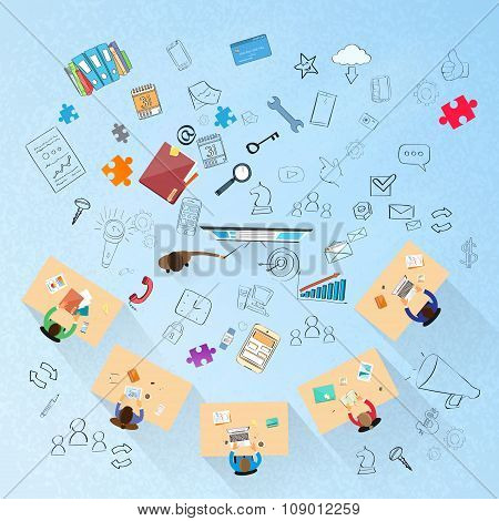 Business People Training Top Above View Sitting Desk Businesspeople