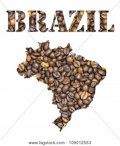 Brazil Word And Country Map Shaped With Coffee Beans Background