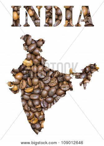 India Word And Country Map Shaped With Coffee Beans Background