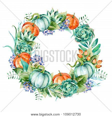 Wreath of high quality hand painted watercolor elements