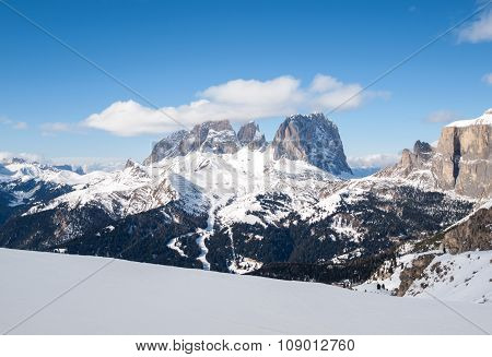 Dolomites Alps - overlooking the Sella group in Val Gardena. Italy