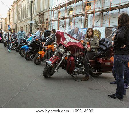 Bikers On Their Moto.