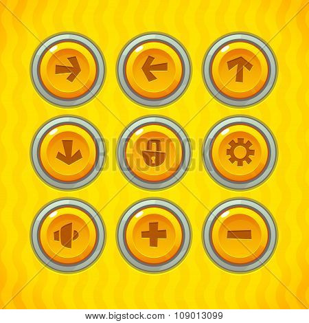 Game Buttons with Icons Set 1