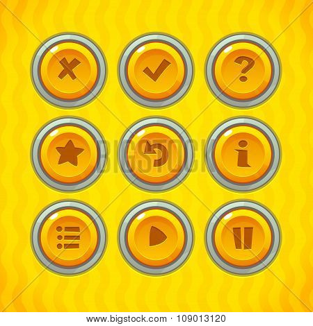 Game Buttons with Icons Set 2