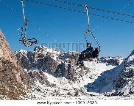 DOLOMITES ALPS, ITALY - FEB 18, 2015: Skiing area in the Dolomites Alps. Overlooking the Sella group in Val Gardena. Italy