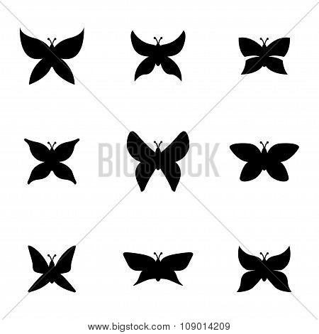 Vector black butterfly icon set