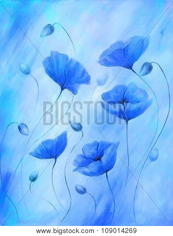 Painting blue poppy on color background. Color flower on abstract  background.
