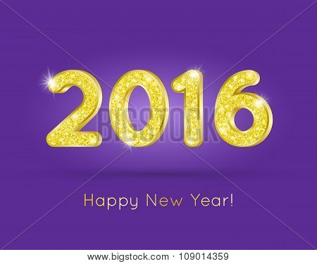 2016 Golden Glitter Digits With Happy New Year Greeting