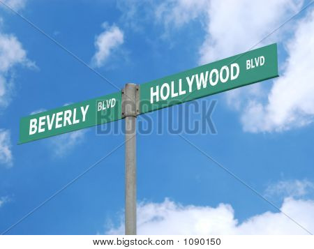 Hollywood And Beverly Blvd Signpost