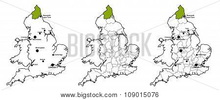 Northumberland located on map of England