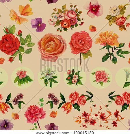 Complex vintage style watercolour flowers seamless background pattern, toned