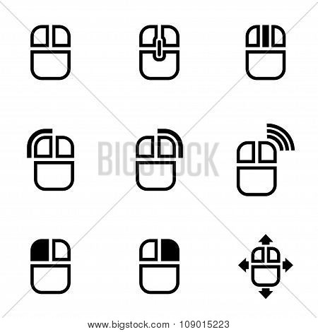 Vector black computer mouse icon set