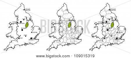 Nottinghamshire located on map of England