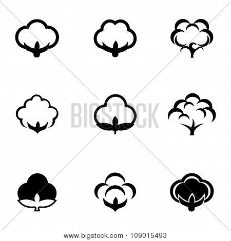 Vector black cotton icon set
