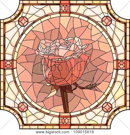 Vector Mosaic Of Flower Pink Rose.