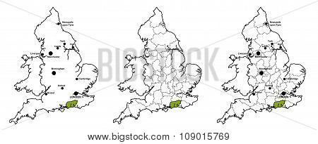 West Sussex located on map of England