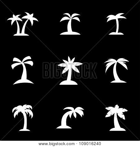 Vector white palm icon set