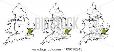 Essex located on map of England