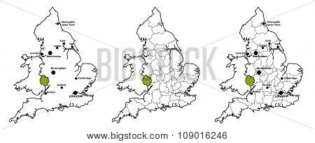 Herefordshire located on map of England