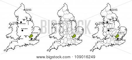 Hertfordshire located on map of England